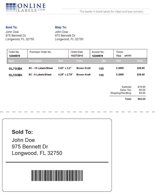 sample shipping label